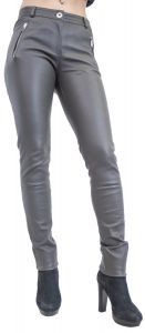 Damenhose-Stretch-Echtleder-Luxus-grau-Luxus-Grau-S