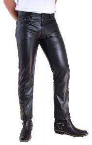 Herren Jeans Lederhose schwarz 5Pocket Schnitt Lamm-Nappa-Echtleder Gr.W26-W42