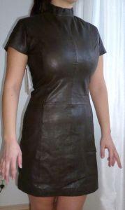 Tailliertes-Lederkleid-softes-Nappa-Leder-Echtleder-schlichter Look Tight fitting