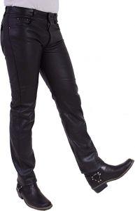 Herren Echte-Lederhose Pocket Jeans Schwarz od. braun Cow Waxy Rind-Nappa W26-W42