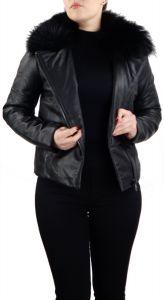 Damen-Lederjacke-Echtfellkragen-schwarz
