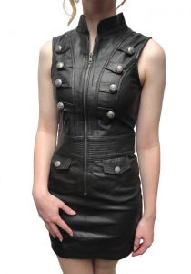 Lederkleid Gothic Mini Trend Look Schwarz Lamm-Nappa-Echtleder Tight fitting XS-XL