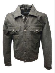 Herren-Jeans-Leder-Jacke-Polokragen-Gr.S-3XL