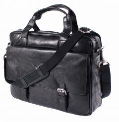 Businesstasche-Aktentasche-Citytasche-Echtleder Rind-Nappa schwarz