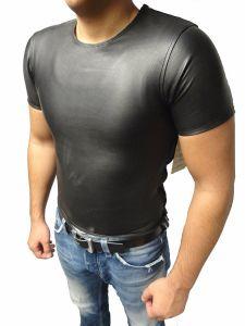 Mens Leder-Shirt-Biker-Sportler-T-Shirt-Erotik-Schwarz-Echtleder-Nappa-XXS-3XL