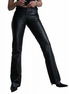 Damen-Lederhose-Nappa-Echtleder-Schlaghose-weibliche Passform LIA2