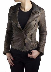 Damen Lederjacke Slimfit Vintage Jacket Lamm-Nappa-Leder 15152