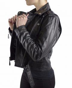 Lady-Bikerjacke-Biker-Brando-Kultjacket-Bueffel-Nappa-Echtleder Schwarz Gr.XS-2XL