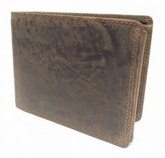 Classic T - Herren Echt Leder Geldbörse Geldbeutel Portemonnaie, Vintage Braun