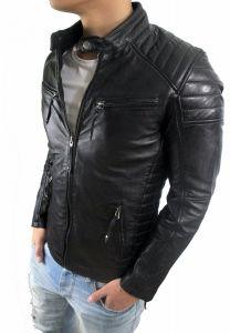 Herren Lederjacke Biker-Stil Leather Jacket Nappa Echtleder Charlie