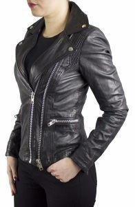 Damen-Lederjacke Lia Bikerjacke Slimfit feines Leder Modern Stilistisch