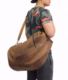 Weekender Bag Militar Stil Navy Reise Tasche Echt Leder natural braun