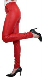 Damen-Lederhose-Strechtleder-Leggings (Skinny Fit/High Waist)-Lamm Nappa Echtleder (Schwarz oder Rot)-Rot-XS