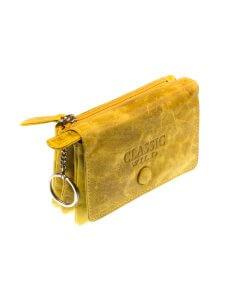 Mini-Portemonnaie echtes gewaschenem Leder in vintage-sonnengelb Minibörse soft