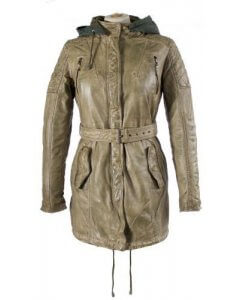 Ladies Leather parka Leather coat Leder-Mantel dark green washed Gr.XS-2XL