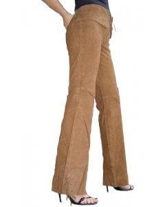 Damen-Lederhose-Velours-Leder-Gotik-Look-soft-weibliche Passform Cognac-braun