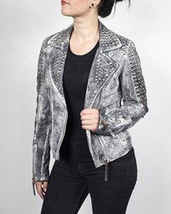 Rocker Jacke Damen Lederjacke Bikerstil Nieten Lamm-Nappa-Echtleder in grau