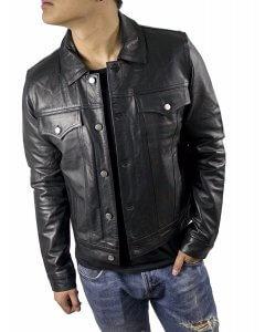Herren-Jeans-Leder-Jacke-Echtleder-Polokragen-Gr.S-3XL