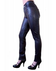 Damen Echtleder Lederhose schwarz 98 Ziegen-Nappa High waist slimfit S-2XL