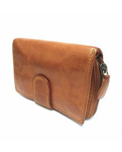 Woman purse, wallet, 100% genuine leather, cognac