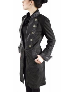 Damen-Leder-Piraten--Mantel-Look-Gothik-Mix-Nappa-Nubuk-Echtleder-Schwarz-GR.XS-XXL