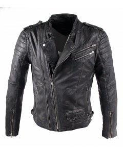 Herren-Lederjacke Dracon Büffel-Nappa-Echtleder-washed-leather-extravagant-Biker-Look