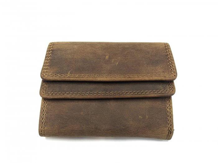 05f3239ad061e4 Echt Leder MINI Geldbörse Geldbeutel Portemonnaie, Vintage Braun