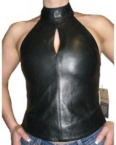 Damen Leder Top Neckholder Look weiblich Lamm Nappa Echtleder Schwarz XS-XX